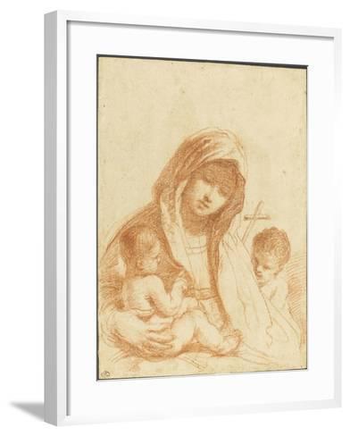 La Vierge à l'Enfant avec le petit saint Jean-Guerchin Le-Framed Art Print