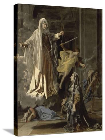 La vision de Sainte Françoise Romaine-Nicolas Poussin-Stretched Canvas Print
