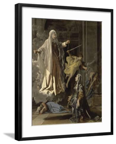 La vision de Sainte Françoise Romaine-Nicolas Poussin-Framed Art Print