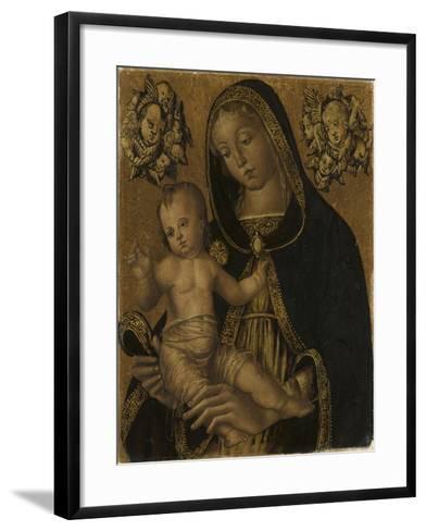 La Vierge et l'Enfant, avec deux chérubins--Framed Art Print