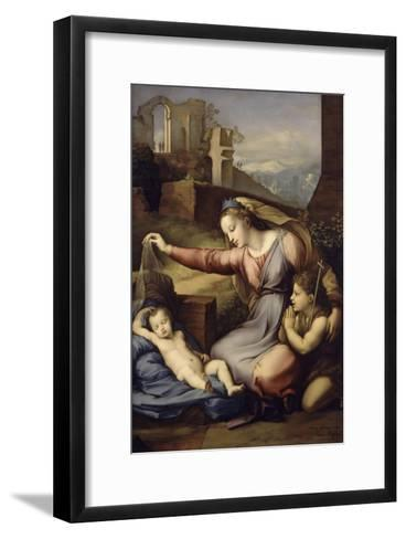 La Vierge au voile bleu-Raffaello Sanzio-Framed Art Print