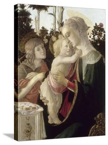 La Vierge et l'Enfant avec Saint Jean-Baptiste enfant-Sandro Botticelli-Stretched Canvas Print