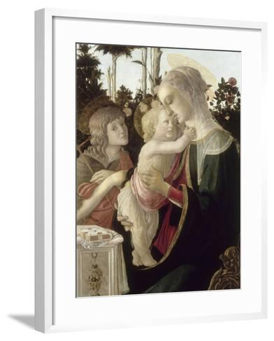 La Vierge et l'Enfant avec Saint Jean-Baptiste enfant-Sandro Botticelli-Framed Art Print