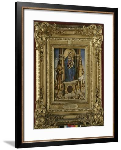 La Vierge et l'Enfant entre saint Jean-Baptiste et saint Sébastien-Francesco Zaganelli-Framed Art Print
