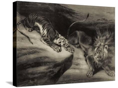 L'attaque du tigre-Louis Boulanger-Stretched Canvas Print
