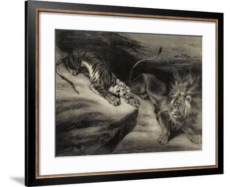 L'attaque du tigre-Louis Boulanger-Framed Art Print