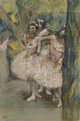 Trois danseuses en jupes saumon-Edgar Degas-Stretched Canvas Print