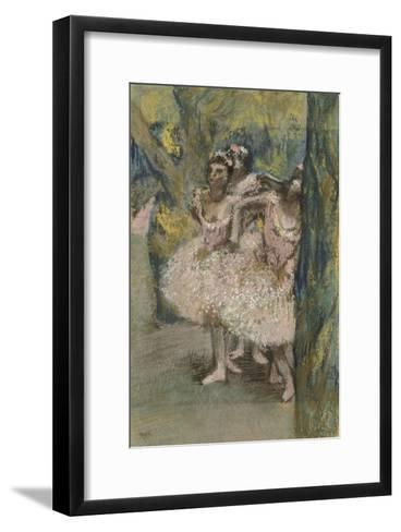 Trois danseuses en jupes saumon-Edgar Degas-Framed Art Print
