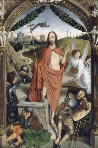 Triptyque de la résurrection (Résurrection, Martyre de Saint Sébastien, l'Ascencion)-Hans Memling-Stretched Canvas Print