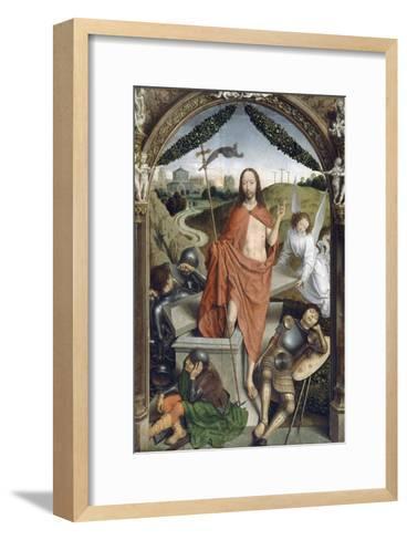 Triptyque de la résurrection (Résurrection, Martyre de Saint Sébastien, l'Ascencion)-Hans Memling-Framed Art Print