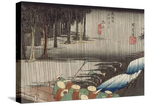 Tsuchiyama, pont et cascade sous la pluie-Ando Hiroshige-Stretched Canvas Print
