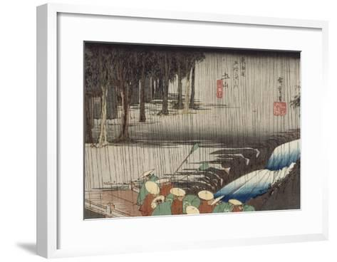 Tsuchiyama, pont et cascade sous la pluie-Ando Hiroshige-Framed Art Print