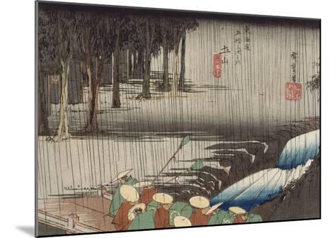 Tsuchiyama, pont et cascade sous la pluie-Ando Hiroshige-Mounted Giclee Print