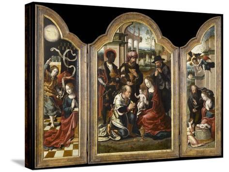 Triptyque de l'Adoration des mages-Pieter Coecke van Aelst-Stretched Canvas Print