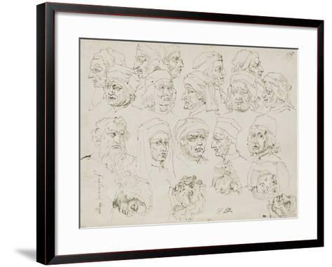 Vingt têtes d'artistes Italiens de la Renaissance-Nicolas Poussin-Framed Art Print