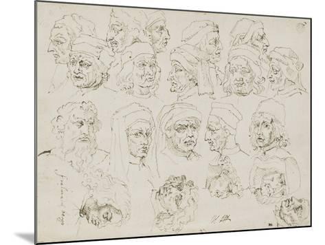 Vingt têtes d'artistes Italiens de la Renaissance-Nicolas Poussin-Mounted Giclee Print