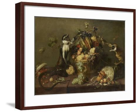 Deux singes pillant une corbeille de fruits-Frans Snyders-Framed Art Print