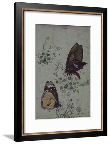 Deux papillons parmi les fleurs--Framed Art Print
