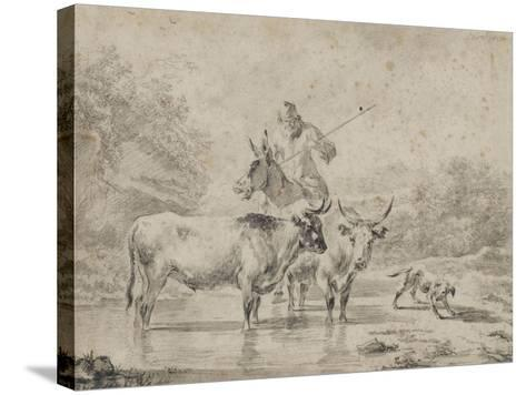 Two Oxen and a Shepherd on a Donkey Through the Ford--Stretched Canvas Print