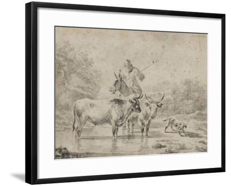 Two Oxen and a Shepherd on a Donkey Through the Ford--Framed Art Print