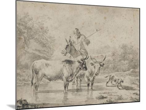 Two Oxen and a Shepherd on a Donkey Through the Ford--Mounted Giclee Print