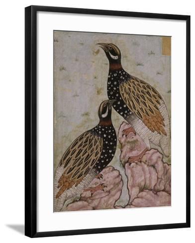 Deux perdrix sur des rochers--Framed Art Print
