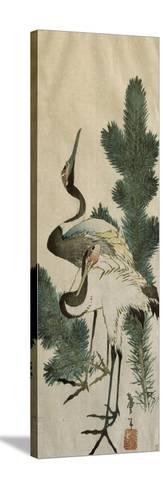 Deux hérons-Katsushika Hokusai-Stretched Canvas Print