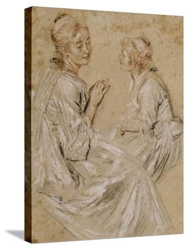 Deux études d'une femme assise-Jean Antoine Watteau-Stretched Canvas Print