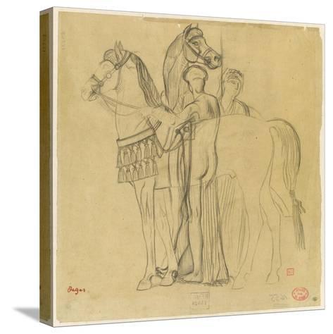 Deux chevaux conduits par deux femmes-Edgar Degas-Stretched Canvas Print