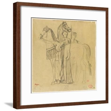 Deux chevaux conduits par deux femmes-Edgar Degas-Framed Art Print