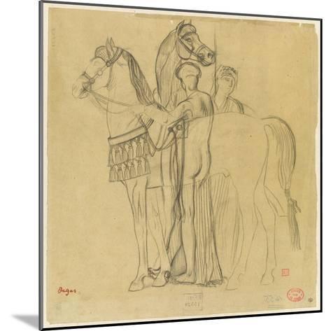Deux chevaux conduits par deux femmes-Edgar Degas-Mounted Giclee Print