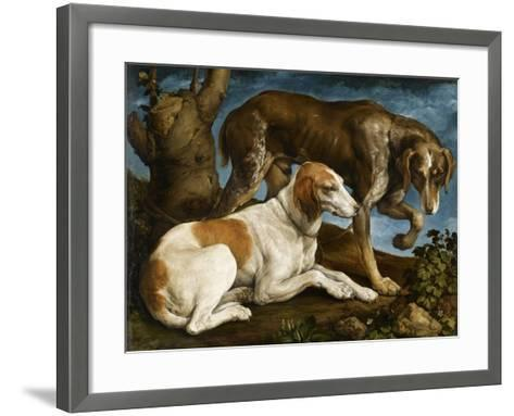 Deux chiens de chasse attachés à une souche-Jacopo Bassano-Framed Art Print