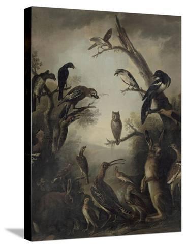 Deux lièvres parmi une grande quantité d'oiseaux.-Nicasius Bernaerts-Stretched Canvas Print