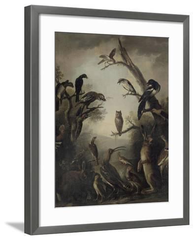 Deux lièvres parmi une grande quantité d'oiseaux.-Nicasius Bernaerts-Framed Art Print