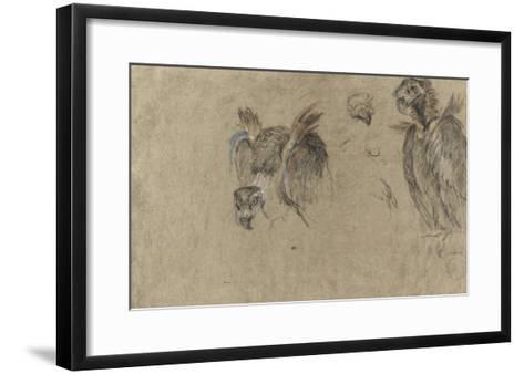 Deux études de vautour et deux détails-Pieter Boel-Framed Art Print