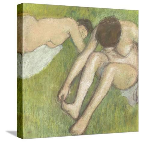 Deux baigneuses sur l'herbe-Edgar Degas-Stretched Canvas Print