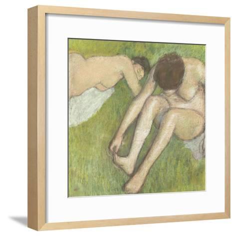 Deux baigneuses sur l'herbe-Edgar Degas-Framed Art Print