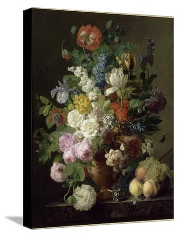 Vase de fleurs, raisins et p?ches-Jan Frans van Dael-Stretched Canvas Print
