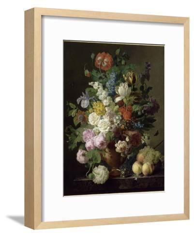 Vase de fleurs, raisins et p?ches-Jan Frans van Dael-Framed Art Print
