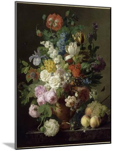 Vase de fleurs, raisins et p?ches-Jan Frans van Dael-Mounted Giclee Print