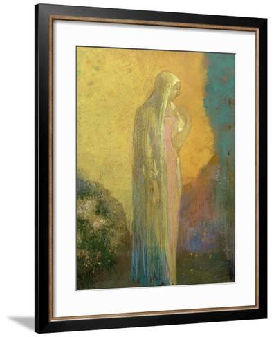 Femme voilée debout-Odilon Redon-Framed Art Print