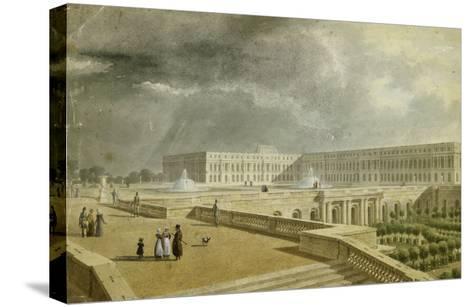 Vue du château de Versailles et de l'Orangerie depuis les Cent Marches sous Louis-Philippe--Stretched Canvas Print