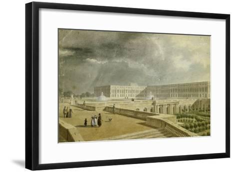 Vue du château de Versailles et de l'Orangerie depuis les Cent Marches sous Louis-Philippe--Framed Art Print