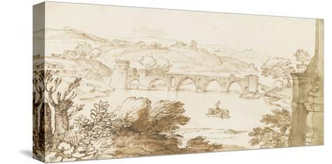 Vue du Ponte Molle, prise de la Villa Madama-Giovanni Francesco Grimaldi-Stretched Canvas Print