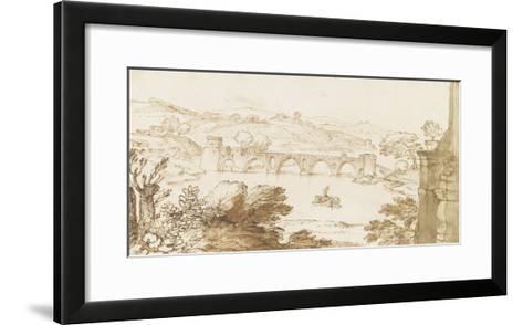 Vue du Ponte Molle, prise de la Villa Madama-Giovanni Francesco Grimaldi-Framed Art Print
