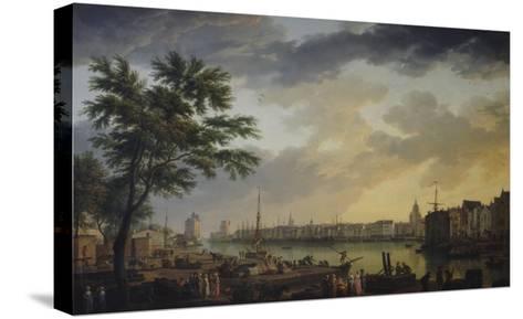 Vue du port de la Rochelle-Claude Joseph Vernet-Stretched Canvas Print