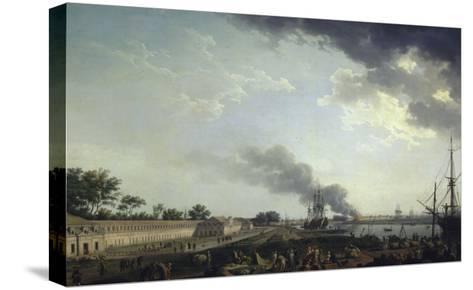 Vue du port de Rochefort-Claude Joseph Vernet-Stretched Canvas Print