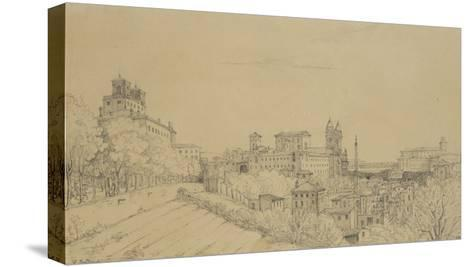 Vue de Rome prise du Pincio-Victor Baltard-Stretched Canvas Print