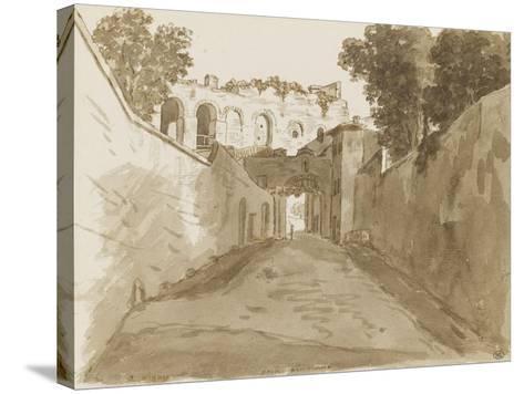 Chemin encaissé entre de hautes murailles et ruines-Pierre Henri de Valenciennes-Stretched Canvas Print