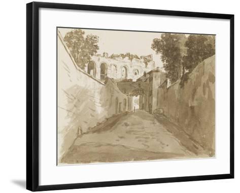 Chemin encaissé entre de hautes murailles et ruines-Pierre Henri de Valenciennes-Framed Art Print